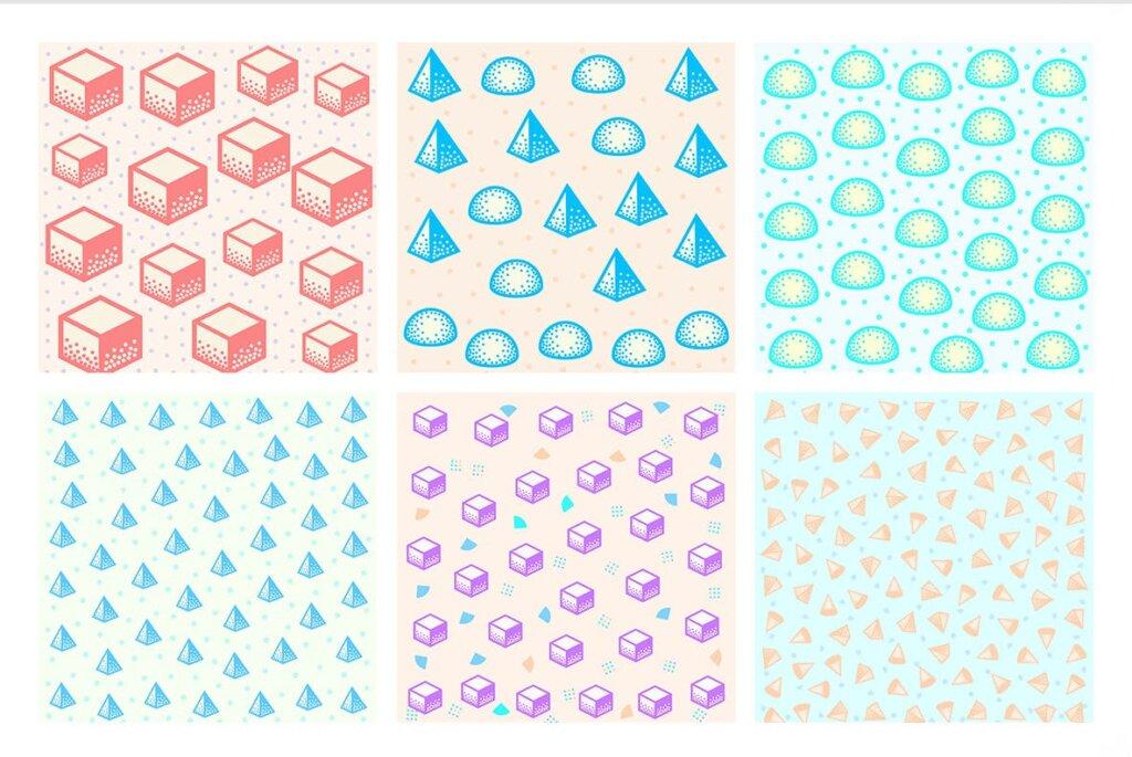 现代和几何图案的简单设计和形状装饰图案纹理素材Pop 3D Geo Patterns插图(3)