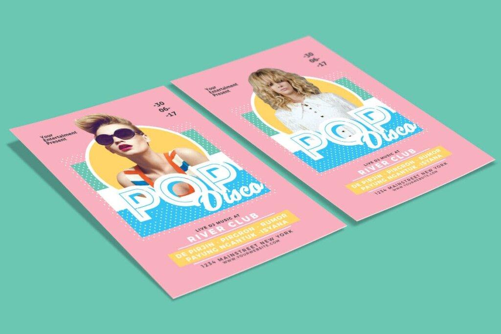简约马卡龙配色pop广告海报传单模板素材下载Pop Disco Flyer插图(3)