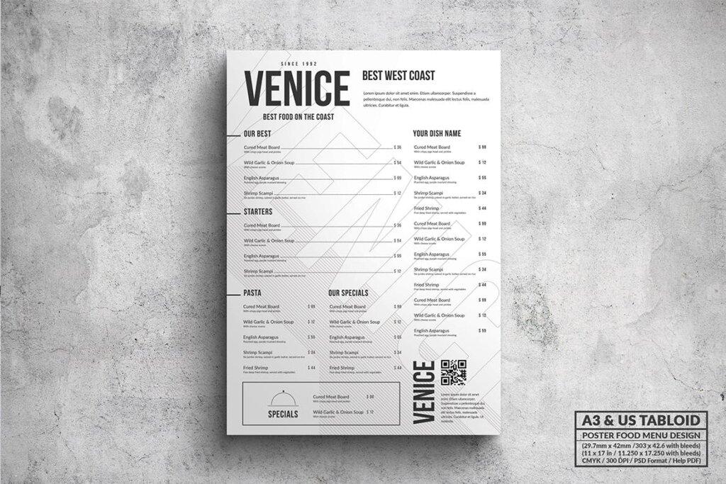 餐饮美食西餐料理菜单模板素材下载Poster Food Menu A3 US Tabloid Bundle插图(3)