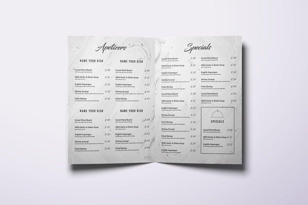 简约文艺美食餐厅食品菜单模板素材下载Restaurant Bifold A4 US Letter Minimal Food Menu插图(3)