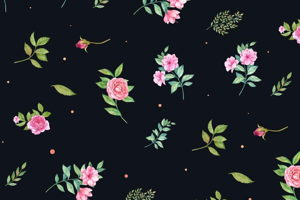 婚礼装饰图案纹理素材模版下载Scarlet Rose Seamless Patterns插图(3)