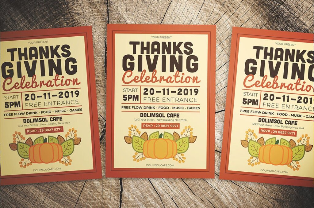 感恩节庆祝活动传单海报模版素材下载J7UHC9插图(3)