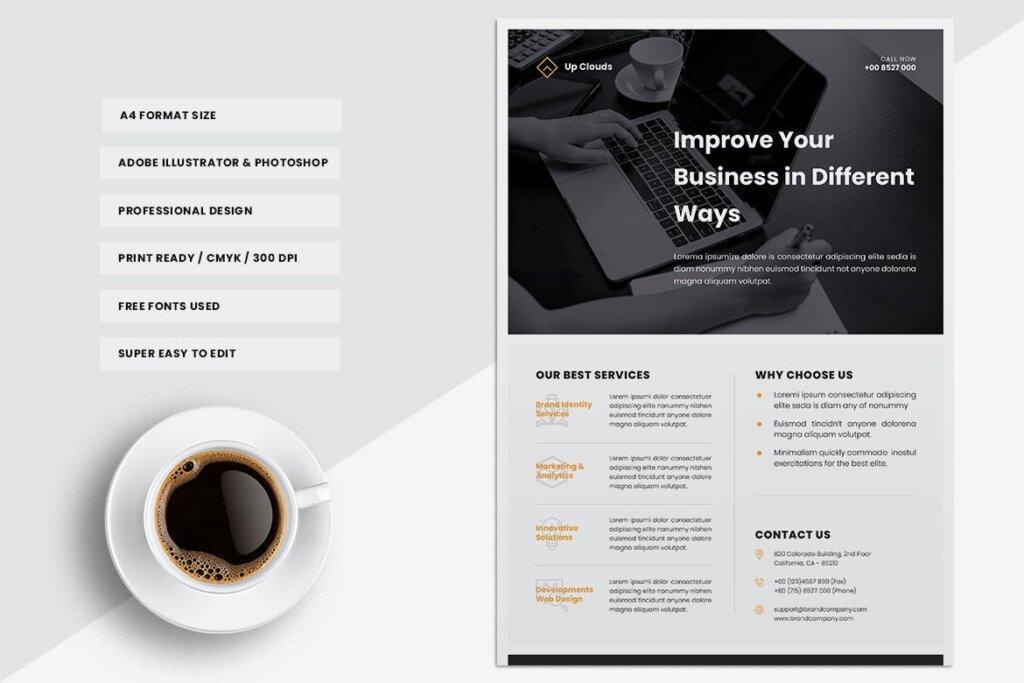 企业商业传单模板产品介绍模版素材下载UPCLOUDS Multipurpose Business Flyer插图(3)