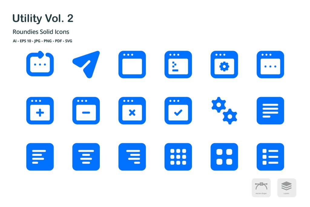 系统实用工具线性图标源文件Utility Vol 2 Roundies Solid Glyph Icons插图(3)