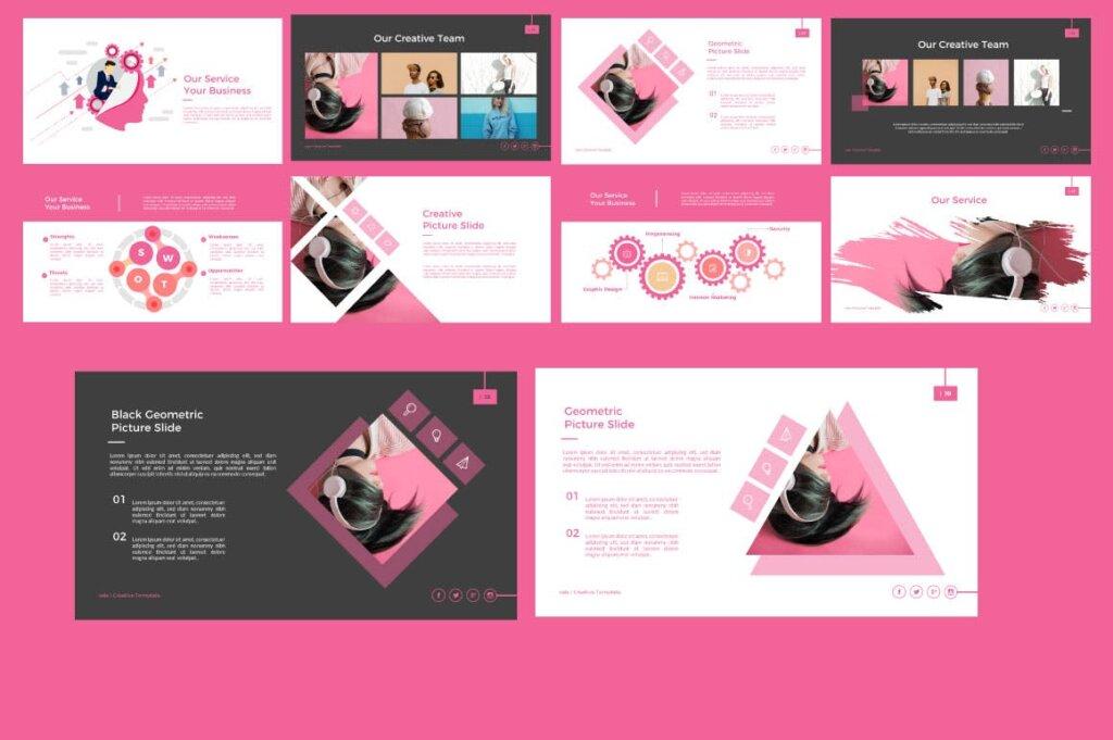 粉色女性时尚行业调研报告幻灯片PPT模版Vale Creative Keynote插图(3)