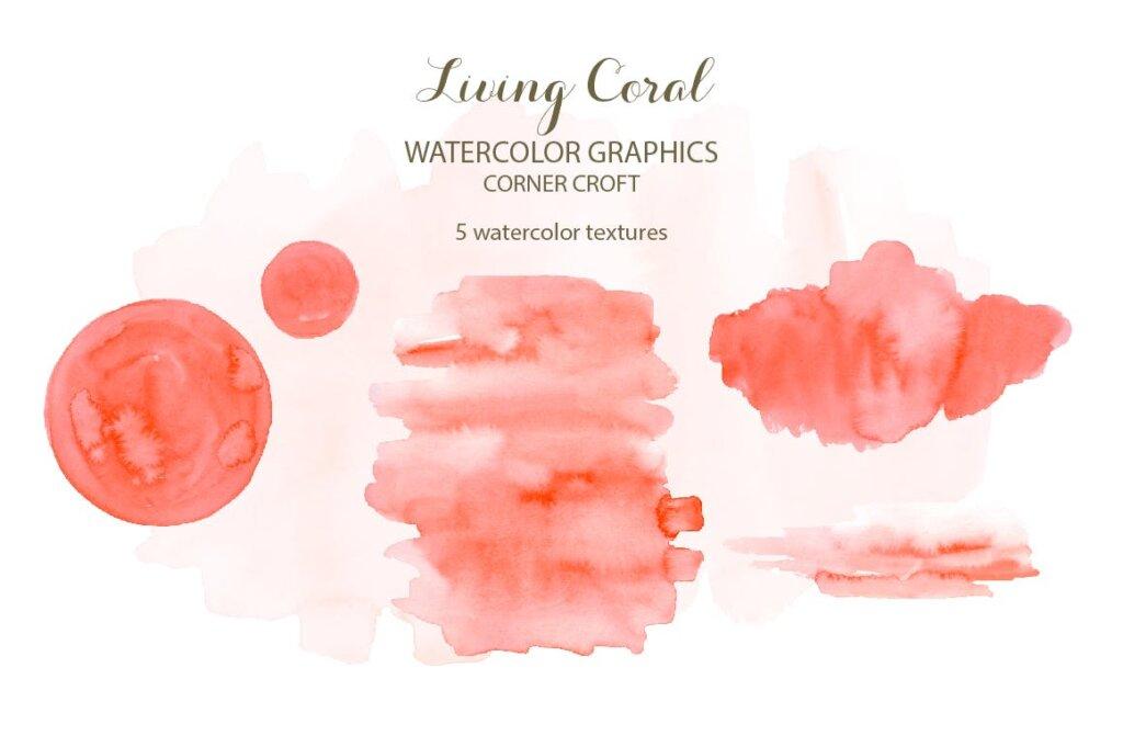 海洋动植物水彩剪纸活珊瑚装饰图案纹理素材Watercolor clipart living Coral插图(3)