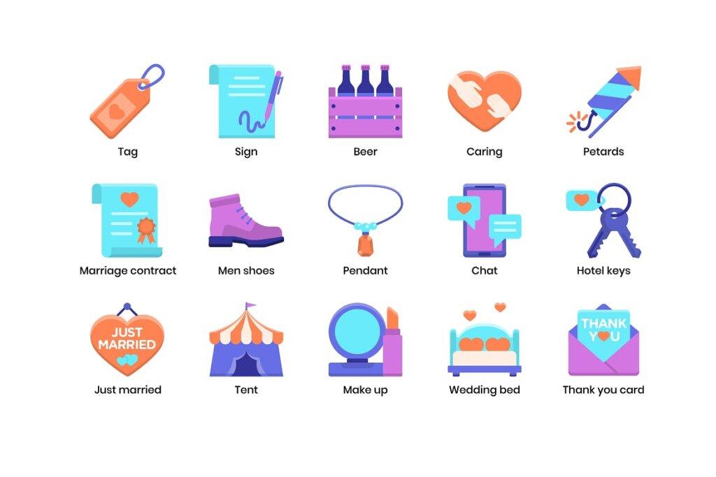 88个婚礼策划相关图标素材下载88 Wedding Flat Icons插图(4)