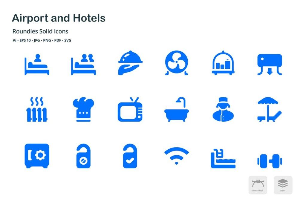 机场和酒店图标线性图标源文件下载Airport and Hotels Roundies Solid Glyph Icons插图(4)