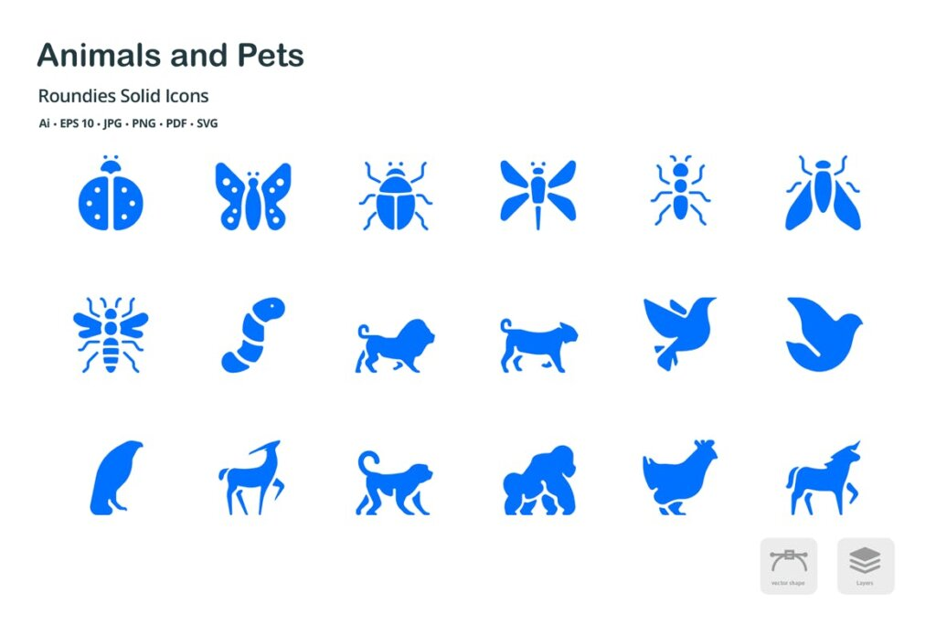 动物和宠物圆形图标矢量文件下载 and Pets Roundies Solid Glyph Icons插图(2)