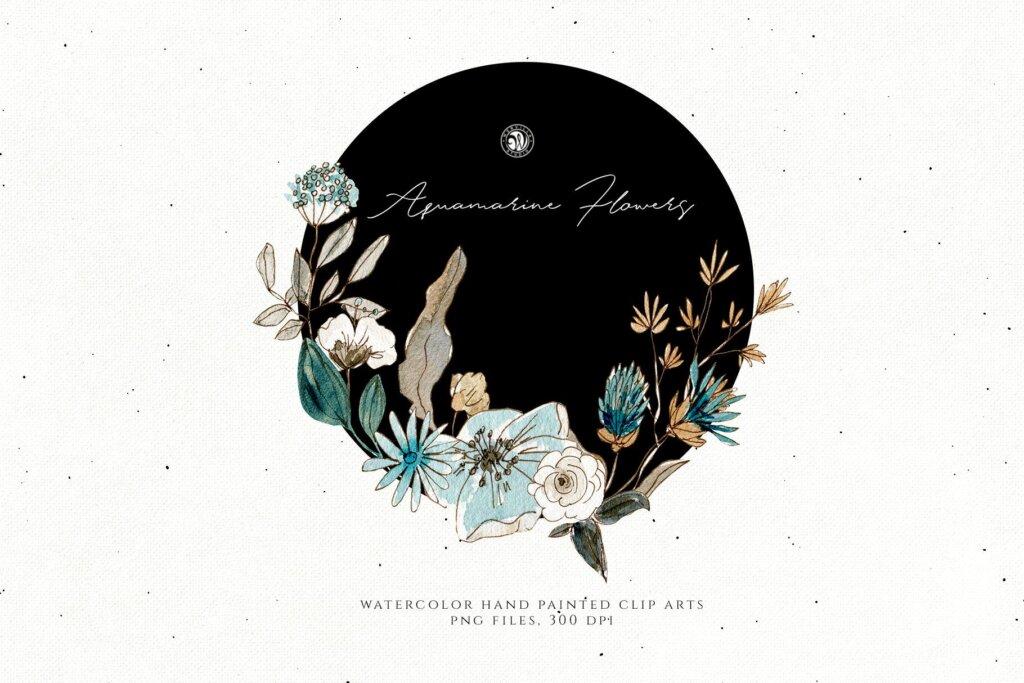 手绘海蓝宝石水彩画花卉水彩素材下载Aquamarine Watercolor Flowers插图(4)