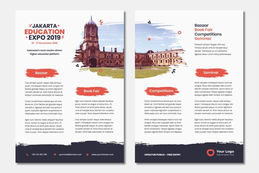 企业商务小册子/双折页小册子模板活动传单Bifold Brochure Template Education Flyer插图(4)