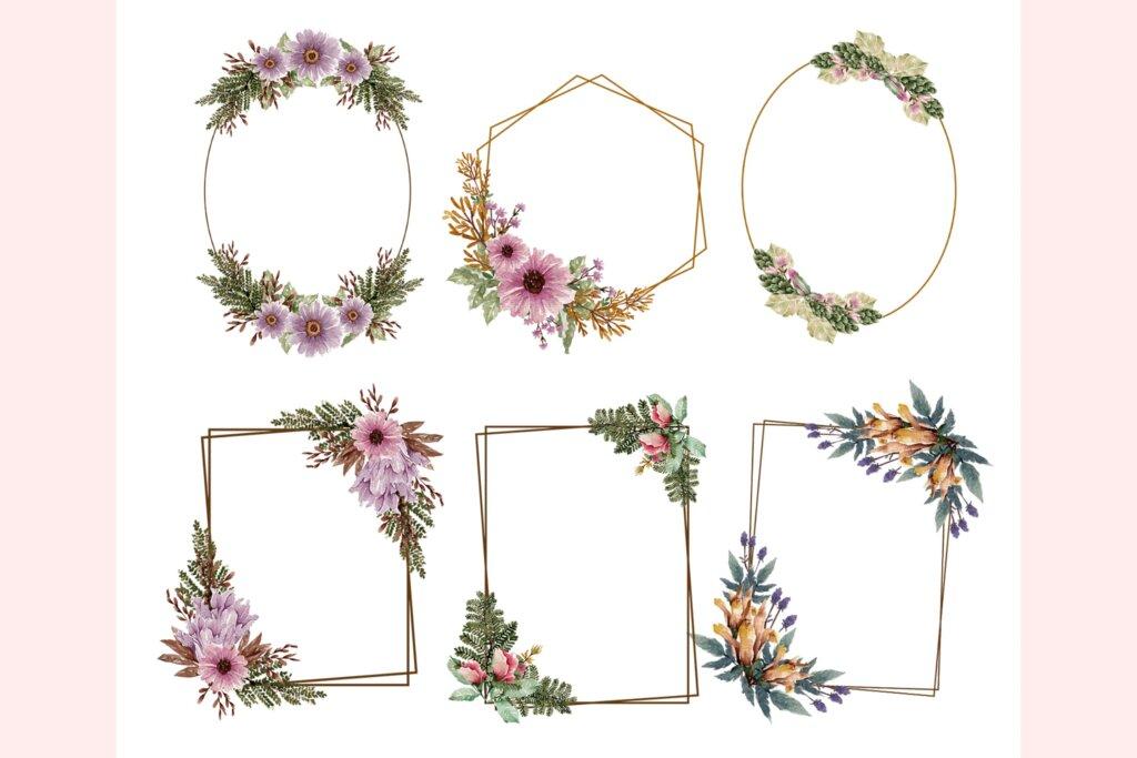 婚礼设计布艺装饰图案/布料装饰图案素材下载Bloomy Watercolor Collection插图(4)