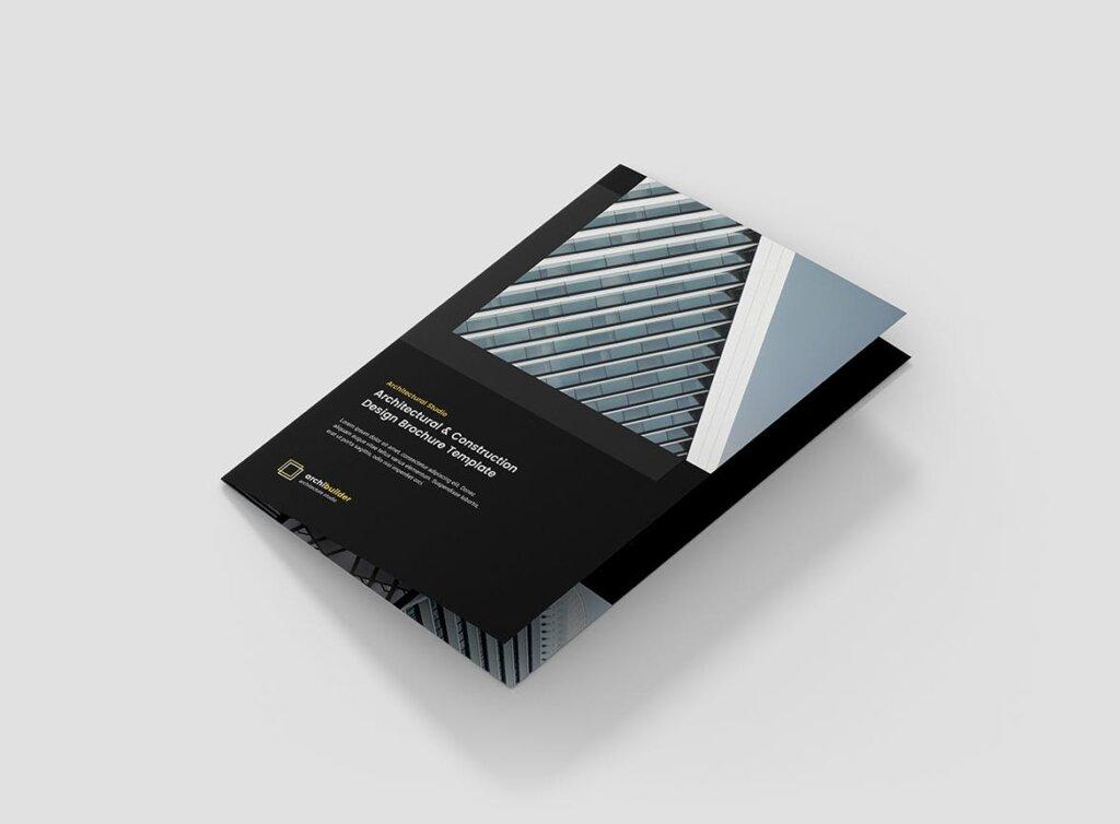 建筑工作室投资组合三折页模板素材下载Brochure Architect Bi Fold插图(4)