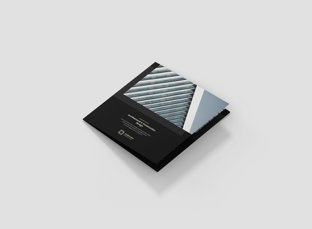 工业建筑设计工作室产品宣传折页模版素材下载Brochure Architect Tri Fold Square插图(4)