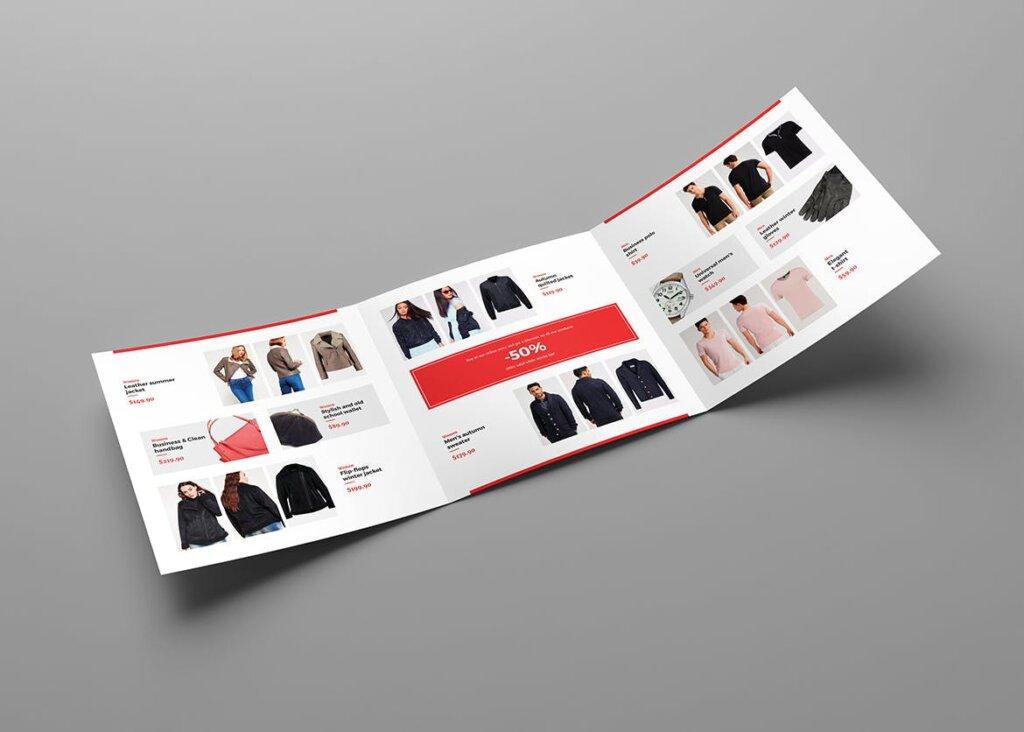 服装大促销宣传折页模版素材下载Brochure Fashion Look Book Tri Fold Square插图(4)