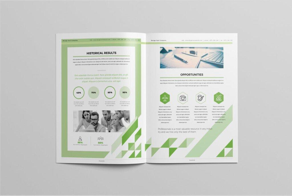 绿色环保简约杂志手册模板素材下载UXZT87插图(4)