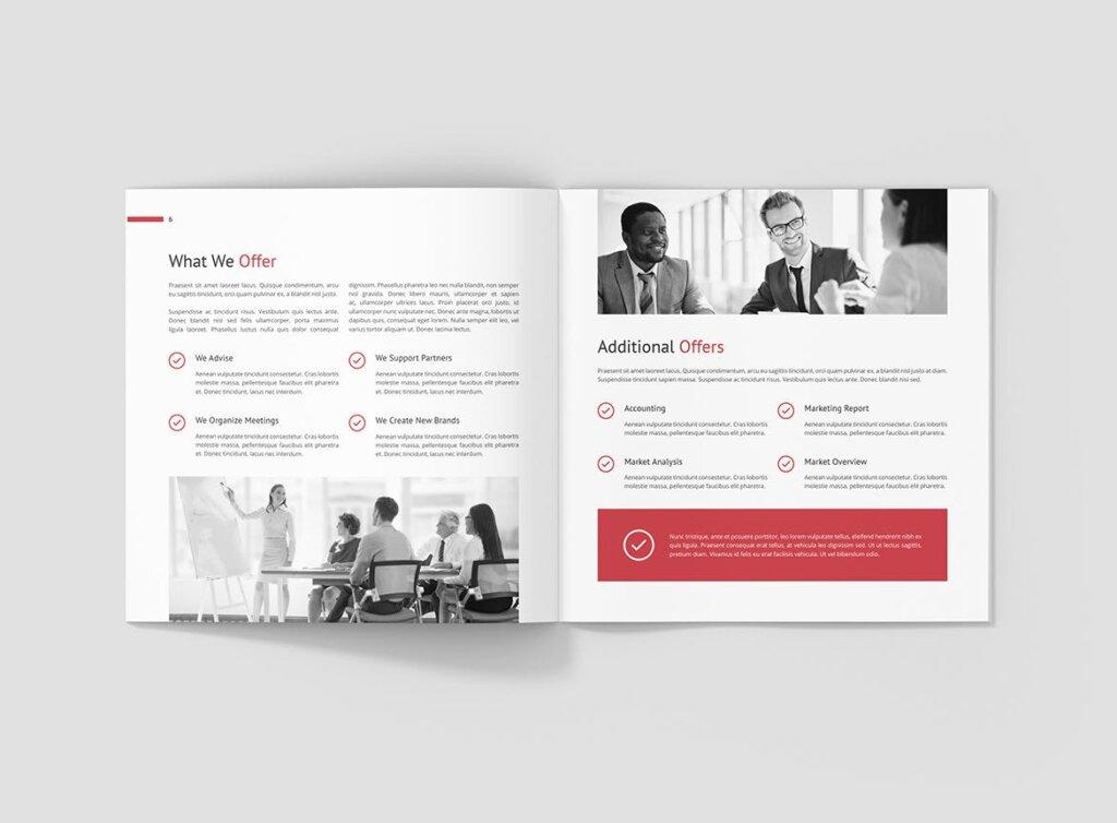 企业商务宣传手册模版素材下载Business Marketing Company Profile Square插图(4)