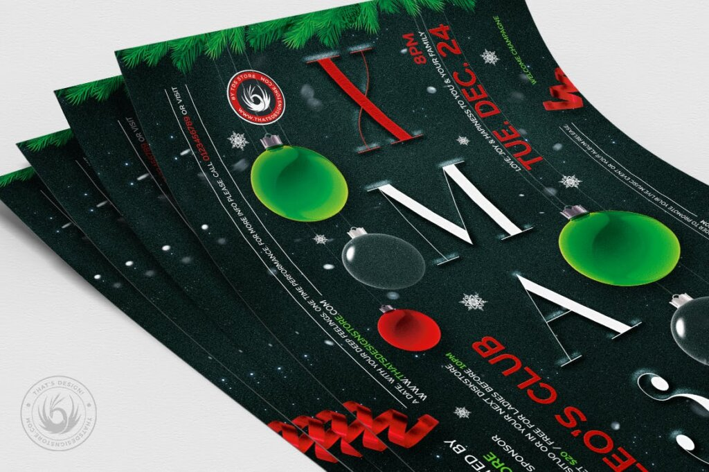 精致文艺平安夜/圣诞节传单海报模板Christmas Eve Flyer Template V13插图(4)