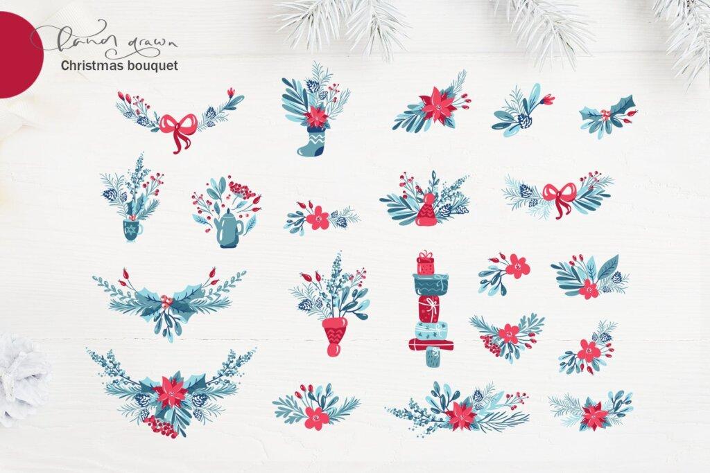 圣诞节花环装饰元素纹理素材/品牌装饰图案素材纹理Christmas floral holiday elements插图(3)