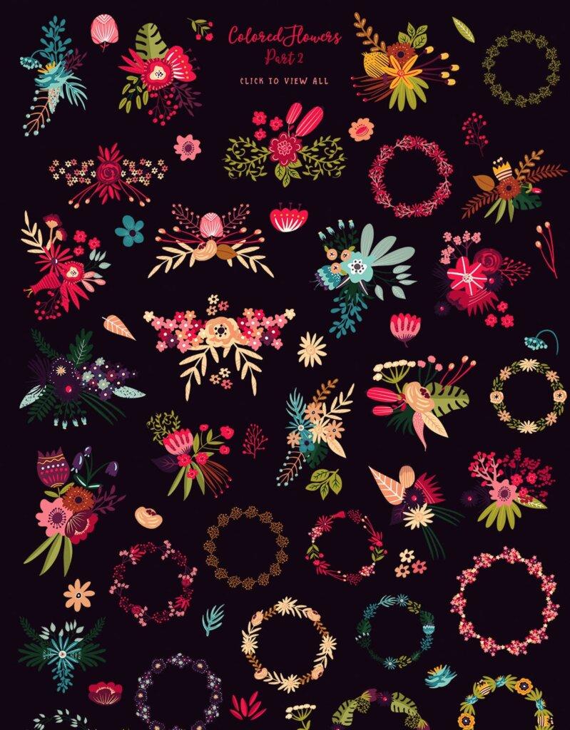 高端糖果坚果食品品牌包装图案纹理素材Colored Flowers Part 2插图(4)