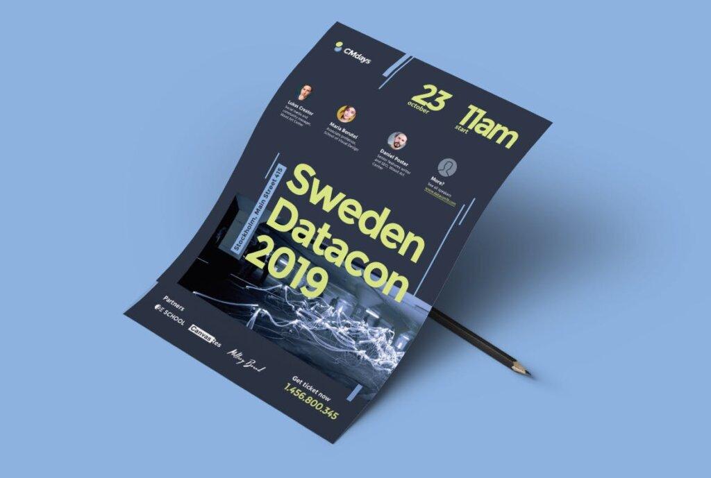国际大型讲座会议海报传单模板素材下载Conference Poster 1插图(3)