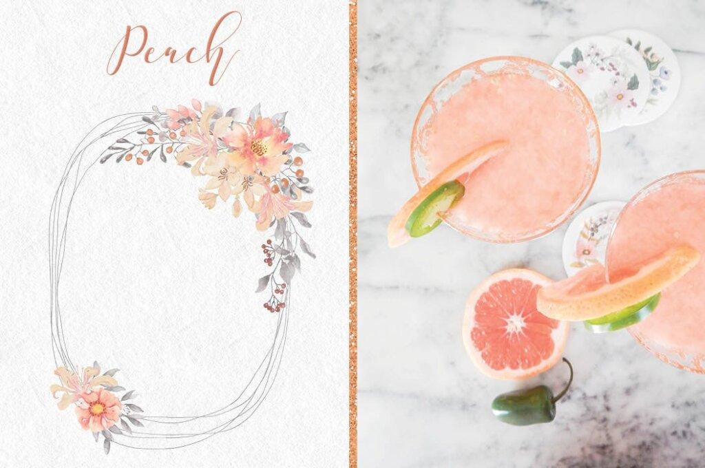 婚礼装饰图案花纹背景图案下载Coral Garden Watercolor Clip Art Collection插图(4)