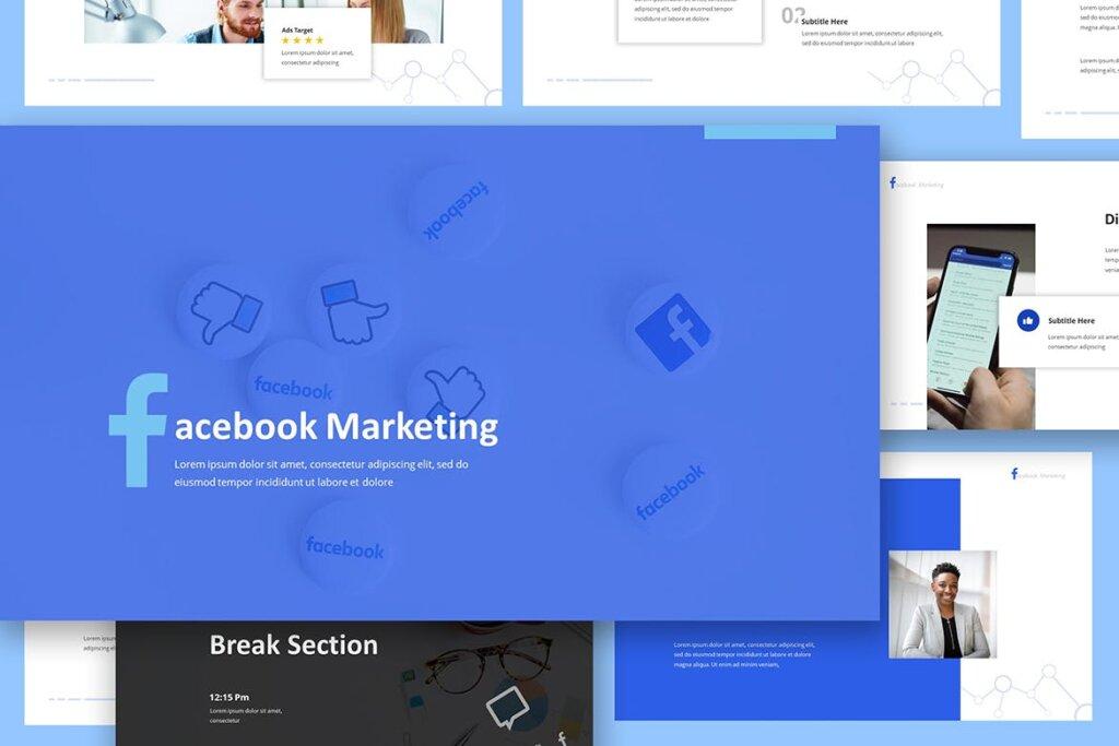 营销演示文稿提案创意演示PPT模版Facebook Marketing Powerpoint Presentation插图(4)