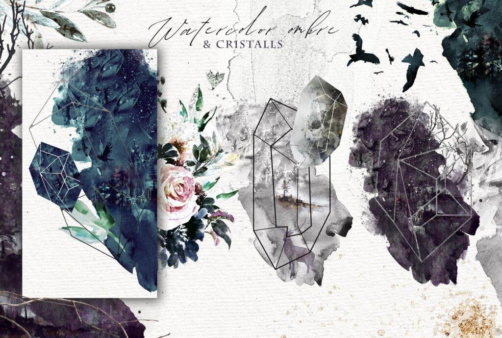 "花环和框架林地和森林装饰图案素材模版下载Fantasy illustrations ""Once in the dream""插图(3)"