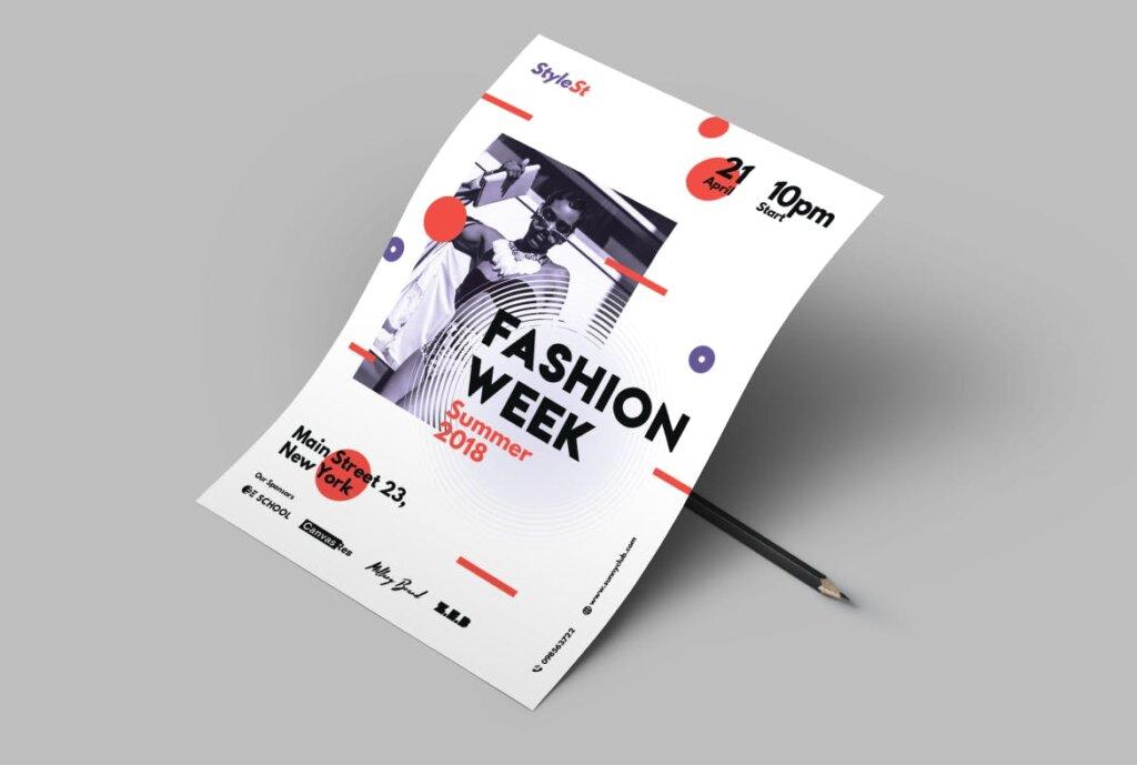 时尚风格海报传单/周末海报传单模板素材下载Fashion Week Poster插图(4)