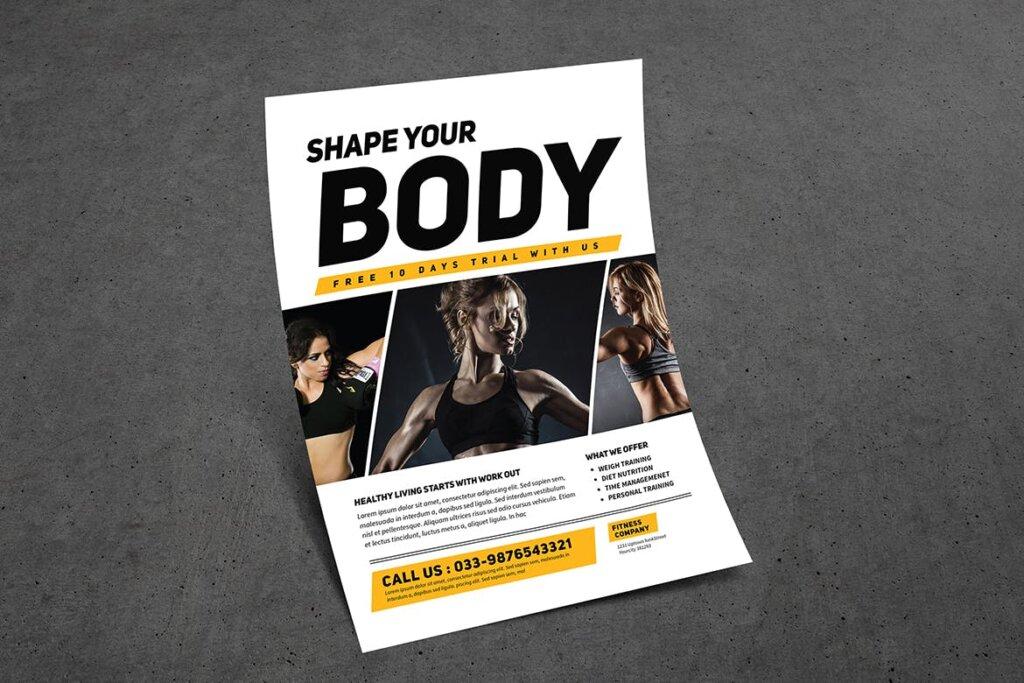 健身房和运动俱乐部宣传单海报模版素材下载KTZSLJ插图(4)
