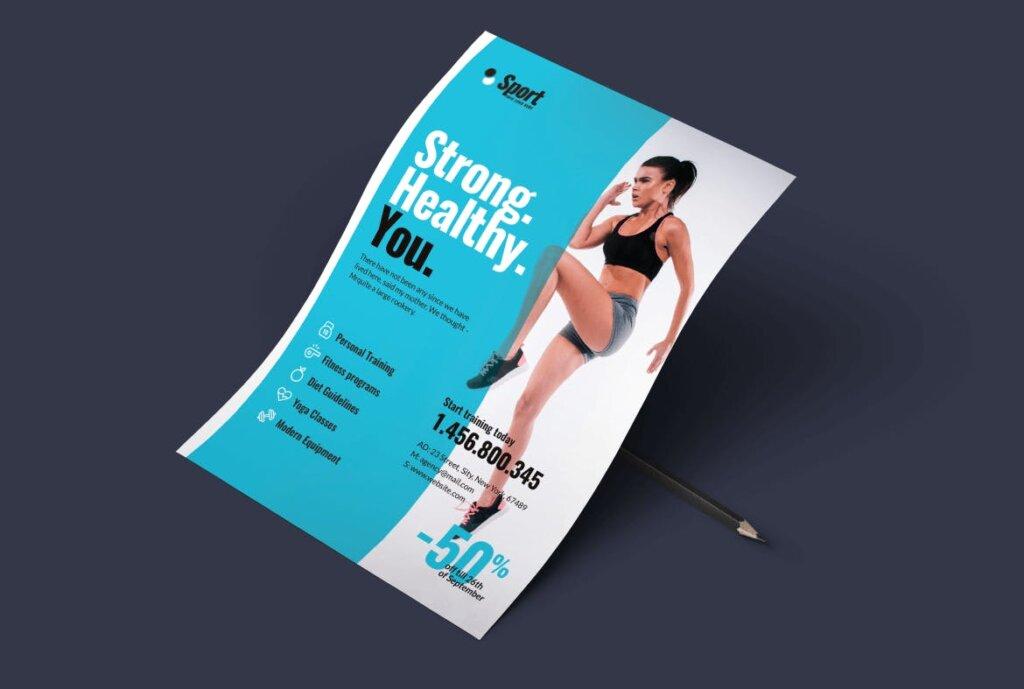 高端现代简约运动瑜伽海报传单模版素材97R6D5插图(4)