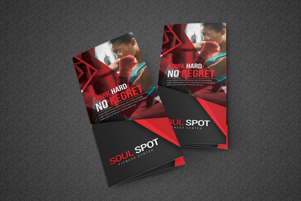 健康与健身手册折页模版素材下载Fitness Tri Fold Brochure插图(4)