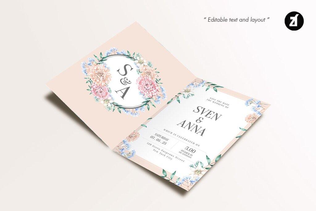 花卉手绘水彩画与奖金的花卉装饰图案纹理海报传单模板素材GQ4CKYT插图(4)