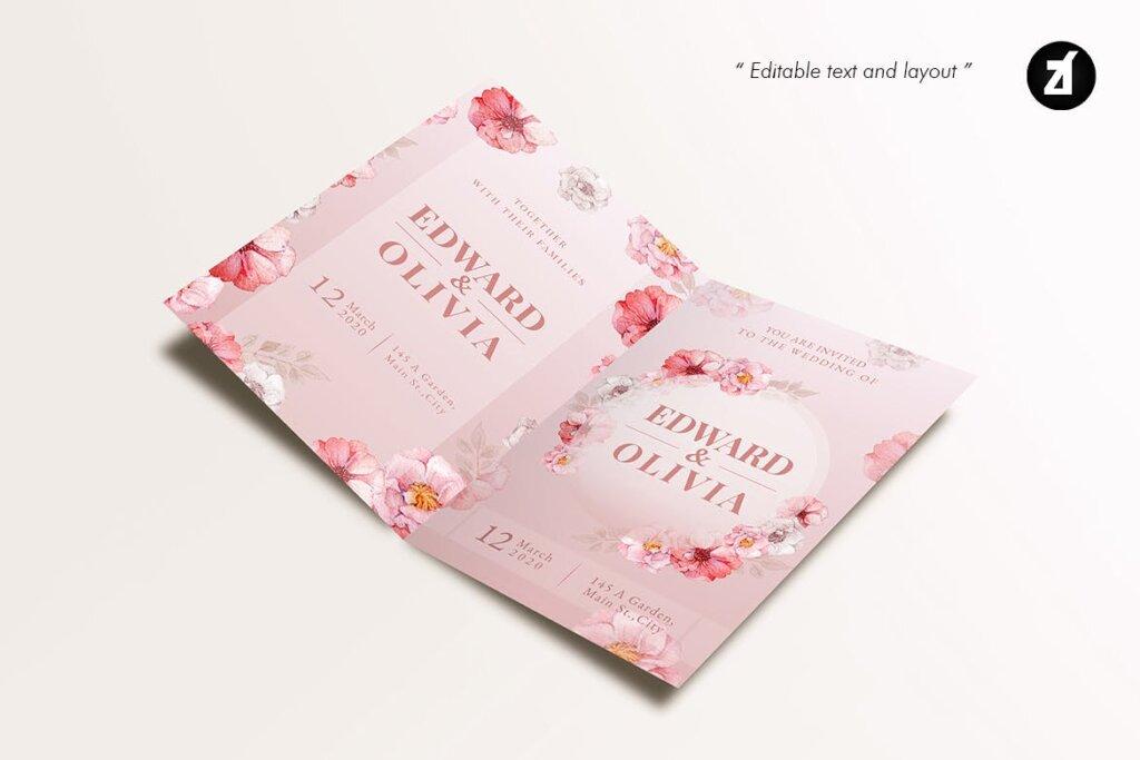 唯美邀请函模版素材下载Floral Hand-drawn Watercolor Wedding Invitation插图(4)