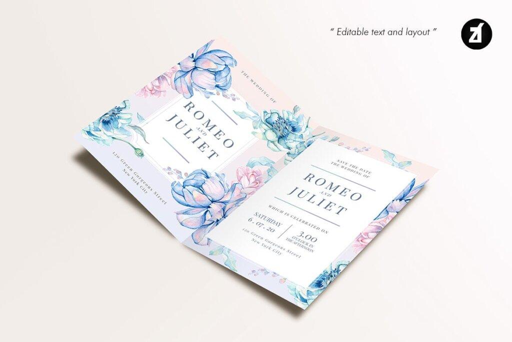 蓝粉红色手绘水彩画传单海报模板Floral Hand-drawn Watercolor Wedding Invitation EFMSCVH插图(4)
