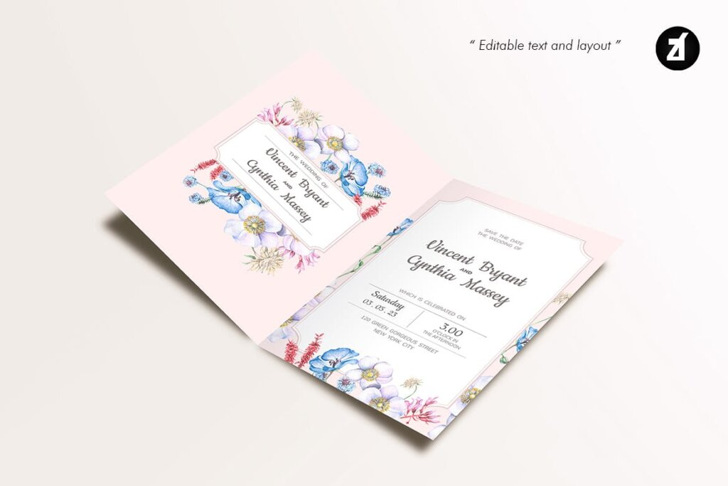 婚礼海报易拉宝素材模板素材下载Floral Hand drawn Watercolor Wedding Invitation BPSRDN3插图(4)