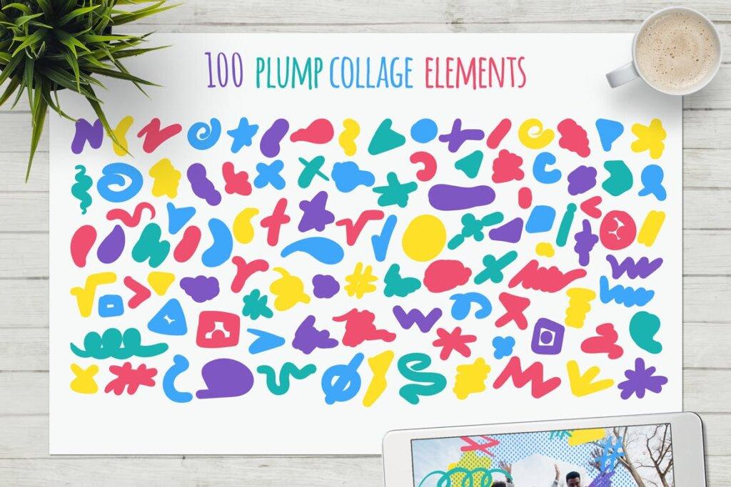 马卡龙剪贴画/渐变图案纹理素材下载Funny Collage Kit插图(4)