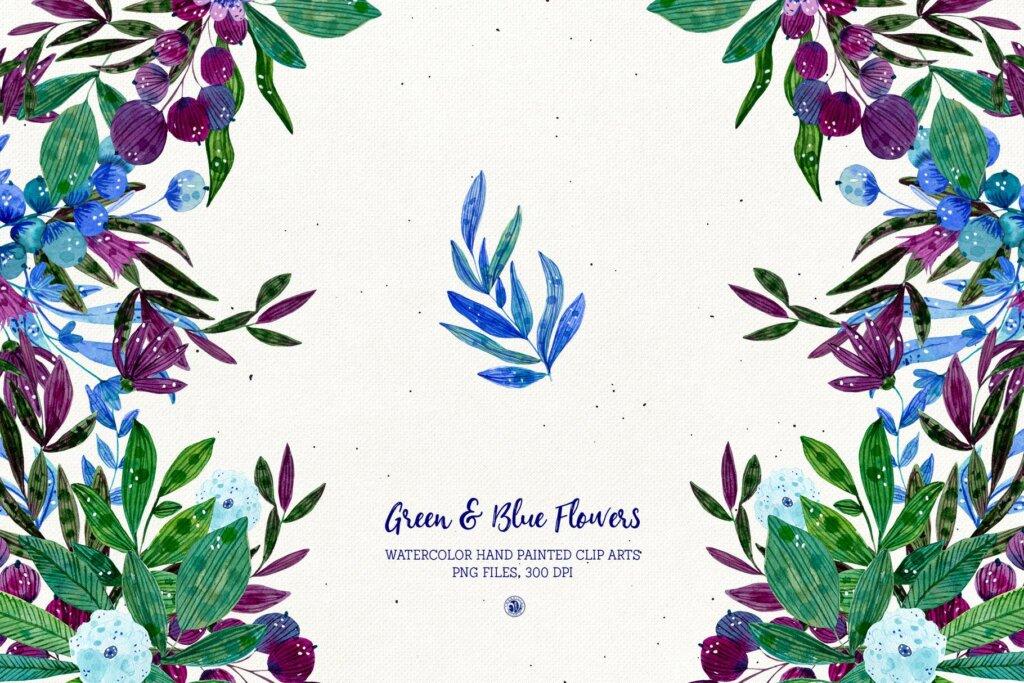 绿色和蓝色的花手绘水彩花/邀请函贺卡装饰图案素材模板下载Green and Blue Flowers插图(4)