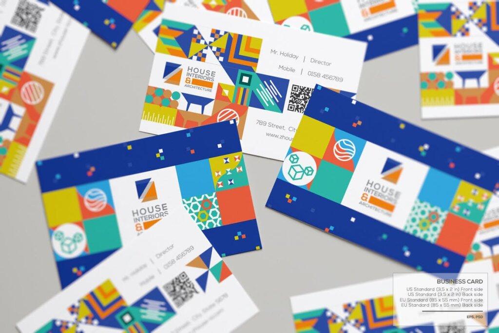 几何纹理图案装饰品牌宣传海报传单模板素材下载Interiors & Architecture – Print Pack Template插图(4)