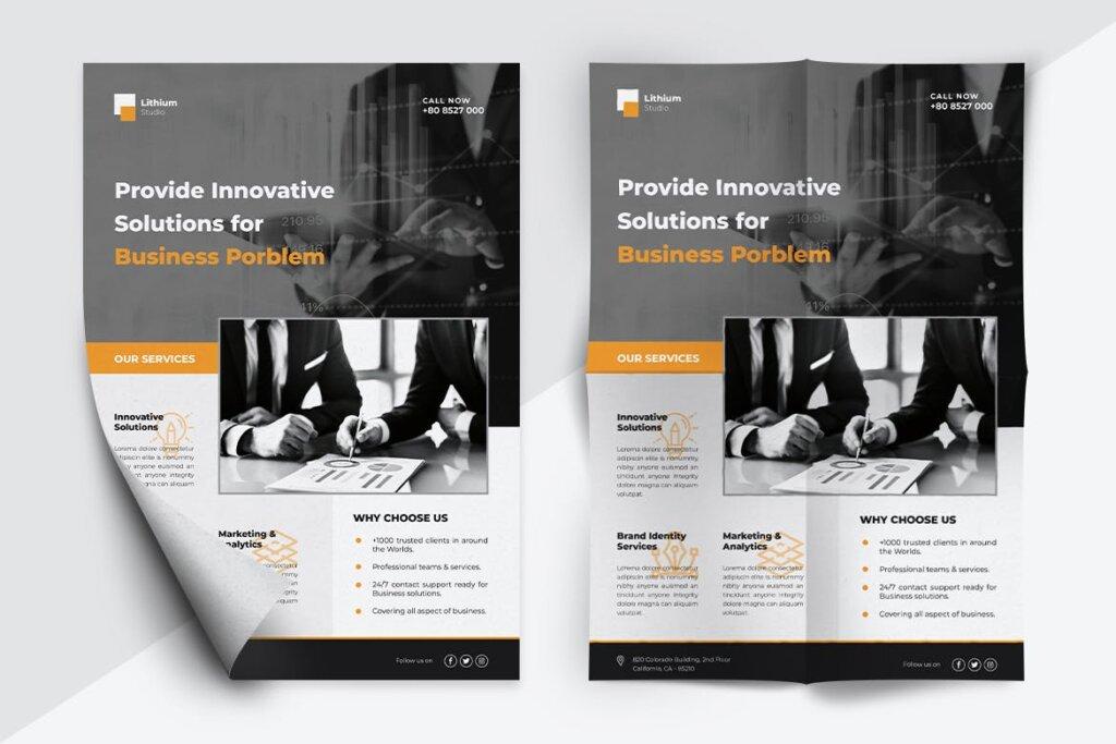 企业商务传单海报模板素材下载LITHIUM Multipurpose Business Flyer插图(4)