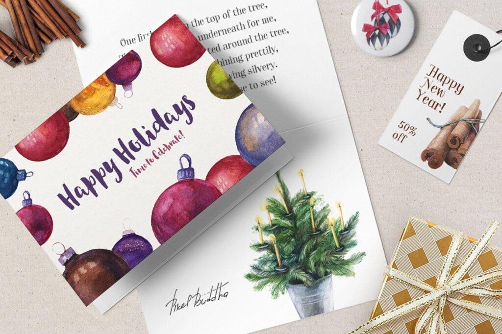 甘草圣诞水彩画装饰图案纹理/圣诞节周边产品素材Licorice Christmas Watercolor Kit插图(4)
