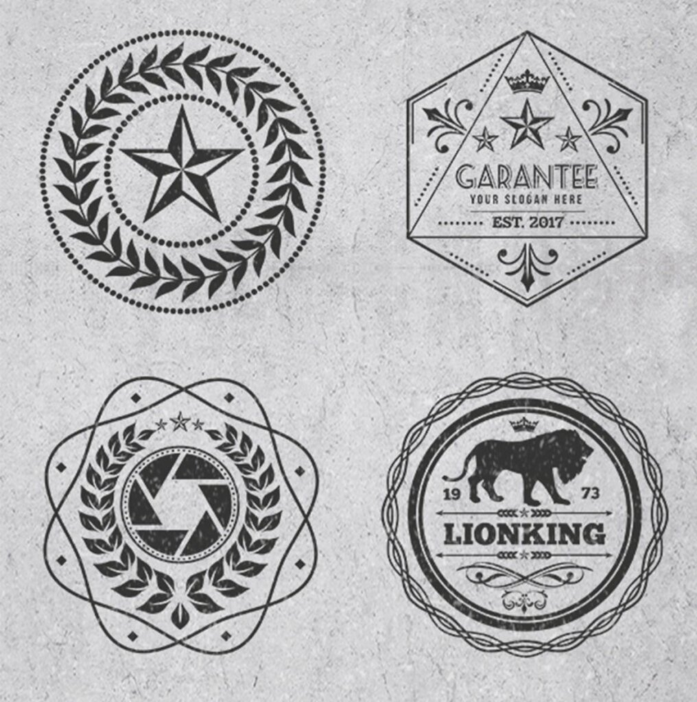 精致复古风格的徽章标识图案纹理素材Logos and Badges Vintage Style插图(4)