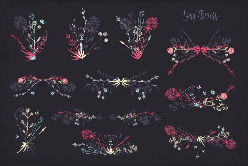 古典沙发装饰图案花卉图案纹理素材Long Flowers UBPGHU插图(4)