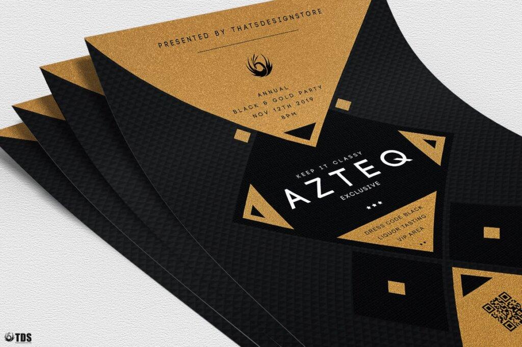 创意几何拼图企业发布会传单海报模板素材下载Minimal Black and Gold Flyer Template V3插图(4)