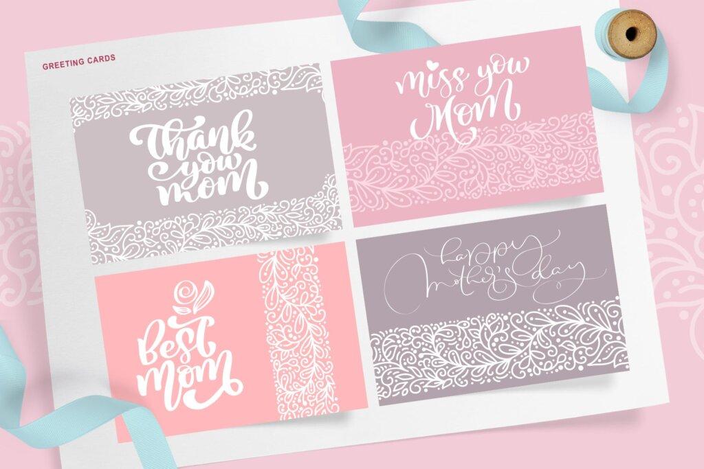 母亲节贺卡装饰图案纹理/女性品牌包装素材下载Mothers Day greeting quotes and cards插图(4)