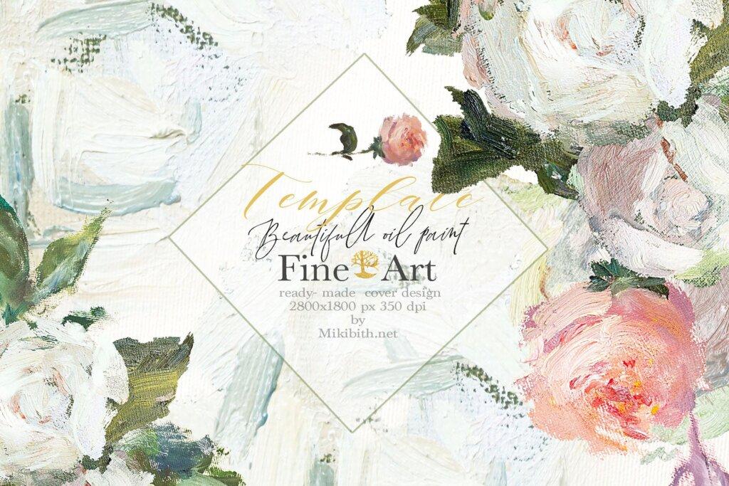 油画装饰图案婚礼邀请函装饰图案下载Oil painted Fine Art roses collection插图(4)