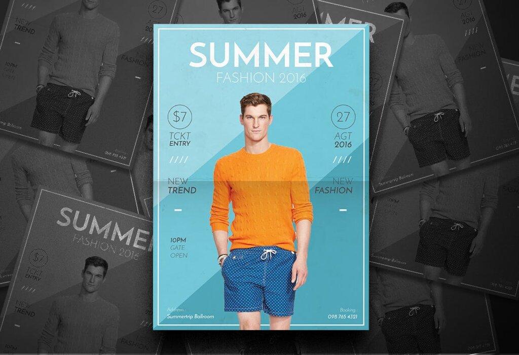 夏季时尚服装促销传单海报模板素材Summer Fashion Flyer 4EVN78插图(4)