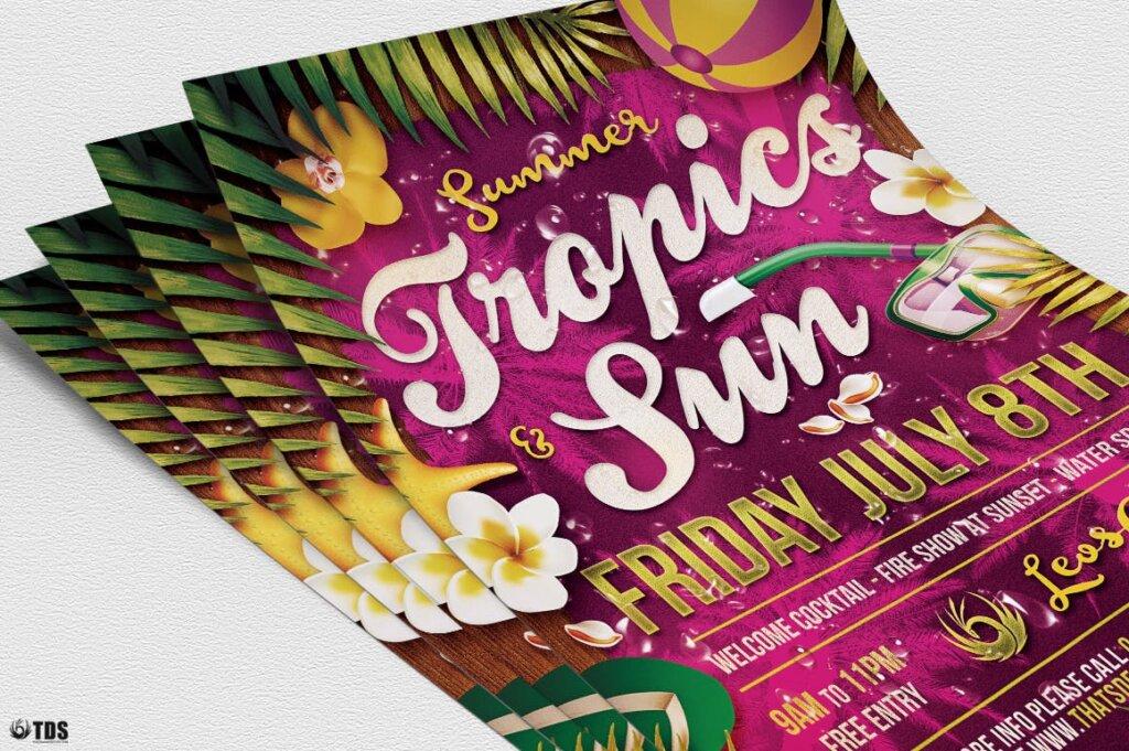 夏季热带传单海报模版素材下载Summer Tropics Flyer Template插图(1)