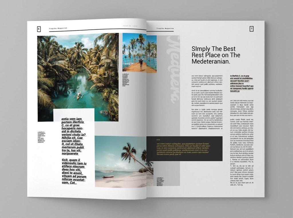 简约大气旅游杂志传单海报模板素材下载Tropika Magazine Template插图(4)