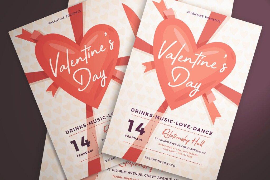 情人节派对/情人节节日海报传单模版素材下载Valentine's Day Flyer Vol. 01插图(4)